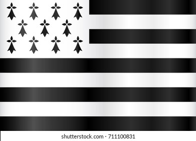 Vector breton flag (flag of Brittany, France)