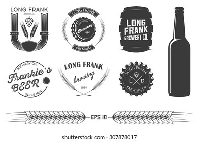 Vector brewing labels and design elements.
