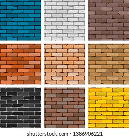 Vector brick wall seamless background set, different color brick textures collection