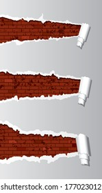 Vector brick wall under ripped paper.