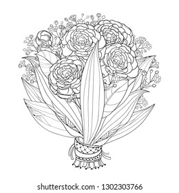 Vector bride bouquet with outline Gypsophila and Camellia flower, bud and leaves in black isolated on white background. Ornate contour Camellia bunch for elegance wedding design or coloring book.