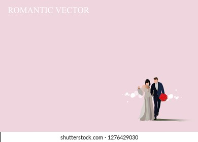 vector bride and groom on pink background.pregnant bride