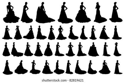 vector bride silhouette