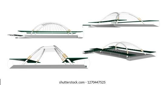 Vector Bridge MRT-BTS, Bangkok city, Thailand