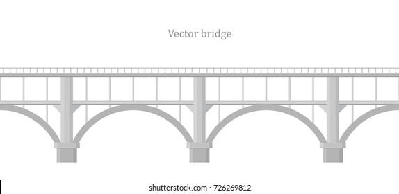 Vector bridge on white background
