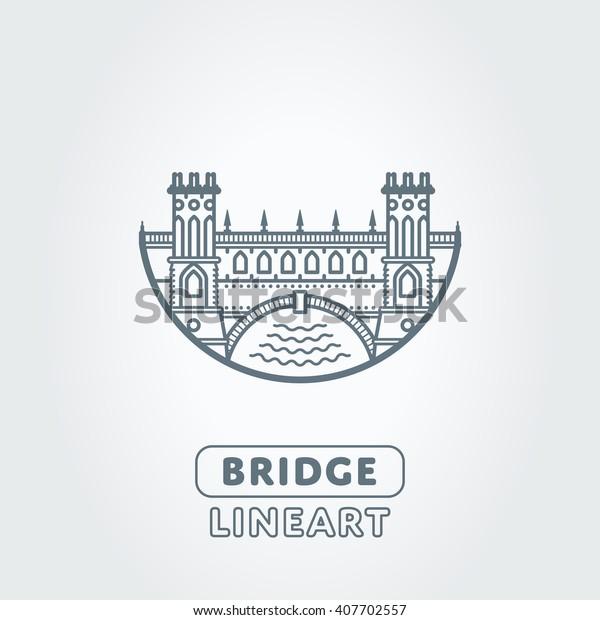 Vector bridge and river stylized symbol. Castle icon. logo.