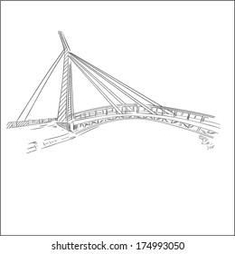 Vector bridge sketch on white background