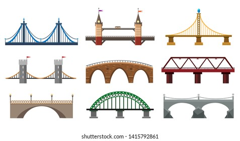 Vector bridges. Iron bridge set illustration, metal architecture building bridgework elements in flat style
