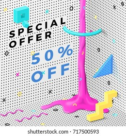 Vector bright abstract memphis style banner with radiant liquid and geometric shapes. For Special Offer's etc.