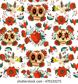 Vector bright and adorable pattern of sugar skulls, flowers and birds in folk style.