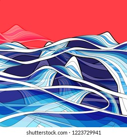 Vector bright background abstract beautiful waves on a colored background