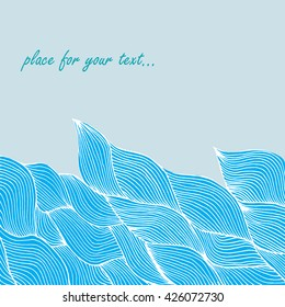 Vector bright background with blue waves. Background for your design. Space for your text. Business card, card, invitation, cover.