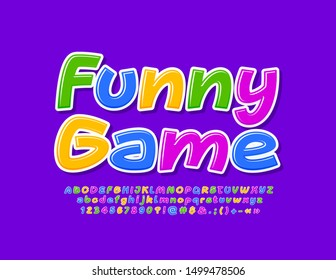 Vector bright banner Funny Game with creative Font. Colorful Alphabet Letters, Numbers and Symbols set