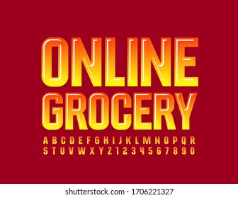 Vector bright banner Online Grocery. Gradient Yellow and Red Font. Glossy Alphabet Letters and Numbers