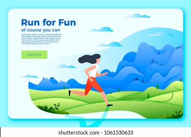 Vector bright banner template with running girl. Forest, river and mountains on soft background. With place for your text.