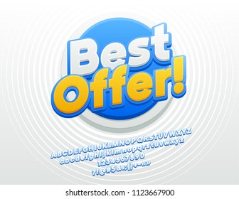 Vector bright Best Offer Sign for Sales. Sticker Style Font. Modern Alphabet Letters, Numbers and Symbols