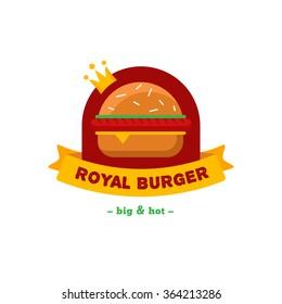 Vector bright burger restaurant logo. Brand sign