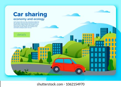 Vector bright car share ride banner template. City and green hills on a bright blue background.