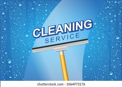 Vector Bright Cleaning Service Concept Background With Realistic Water Drops And Squeegee