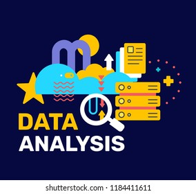 Vector bright color abstract illustration with cloud, server and magnifier. Data analysis creative concept with text on black background. Flat style design for web, site, banner, poster, presentation