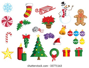 Vector - A bright, colorful collection of Christmas images. Each item is on a separate layer. Use individually or mix and match to create your own groups!