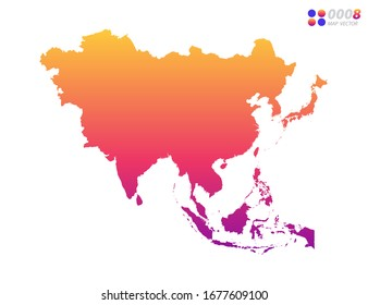 Vector bright colorful gradient of Asia map on white background. Organized in layers for easy editing.
