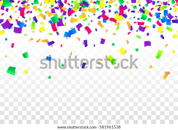 Vector Bright Colorful scattered seamless paper confetti border isolated on transparent white background. Falling gradient  particles for Carnival, Mardi Gras decoration.