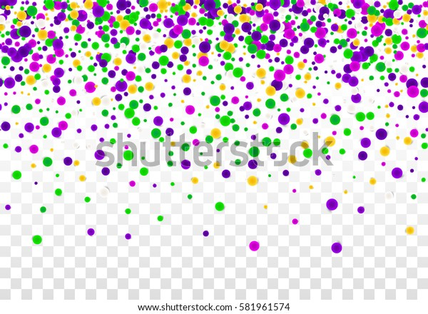 Vector Bright Colorful scattered seamless round confetti border isolated on transparent white background. Falling gradient  particles for Carnival, Mardi Gras decoration.