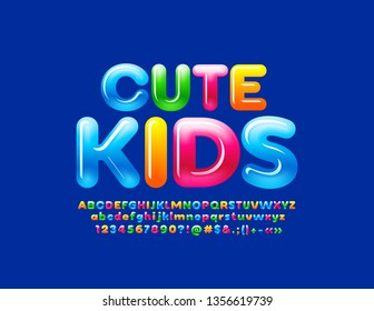 Vector bright emblem Cute Kids. Candy style Font. Gradient color Glossy Alphabet Letters, Numbers and Symbols.