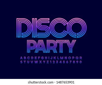 Vector bright Emblem Disco Party. Colorful Uppercase Font. Modern Alphabet Letters and Numbers