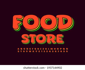 Vector bright Emblem Food Store. Layered Colorful Font. Creative 3D Letters and Numbers set