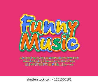 Vector bright Emblem Funny Music. Set of colorful Alphabet Letters, Numbers and Symbols.