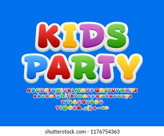 Vector Bright Emblem Kids Party. Colourful Funny Font. Playful Alphabet Letters, Numbers and Symbols for Children.