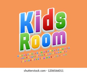 Vector Bright Emblem Kids Room. Colourful Funny Font. Playful rotated Alphabet Letters, Numbers and Symbols for Children.