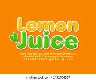 Vector bright emblem Lemon Juice with decorative leaves. Modern creative Font. Set of yellow Alphabet Letters, Numbers and Symbols