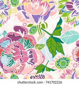 Vector Bright Floral seamless pattern in stylish graphic style in trendy colors.