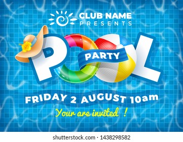 Vector bright and fun advertising poster template for pool party. Colorful swimming ring, beach ball and letters float on crystal clean water with sunny highlights. Pool tile texture on background.