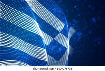 Vector bright glowing country flag of abstract dots. Greece