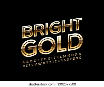 Vector Bright Gold Alphabet Letters and Numbers. Elegant Uppercase Font