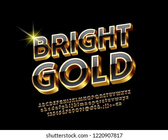 Vector bright Gold and Black Alphabet Letters, Numbers and Symbols. Chic 3D Font for luxury Emblem, Banner, Poster