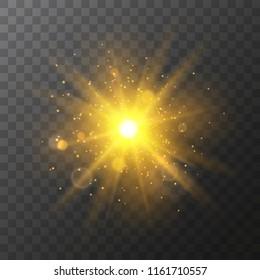 Vector bright gold transparent light burstisolated on dark background