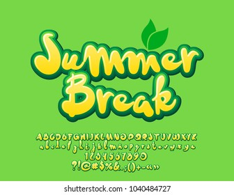 Vector bright Green banner Summer Break with leaves. Set of cute Fresh Alphabet Letters, Numbers and Symbols