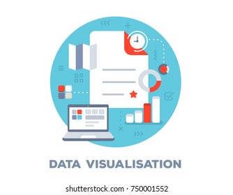 Vector bright illustration of big document, clock, laptop and icons. Data visualisation concept on blue background with title. Flat style design for web, site, banner, business presentation