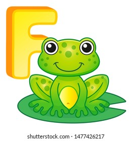 Vector bright illustrations alphabet with capital letters of the English and cute cartoon animals and things. Poster for kindergarten and shool. Cards for learning English. Letter F. Frog