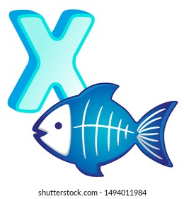 Vector bright illustrations alphabet with capital letters of the English and cute cartoon animals and things. Poster for kindergarten and shool. Cards for learning English. Letter X. X-ray fish