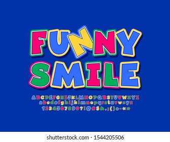 Vector bright label Funny Smile, Comic style Font. Colorful cartoon Alphabet Letters, Numbers and Symbols