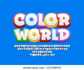 Vector bright Logo Color World with Font. Children cute  Alphabet Letters Set