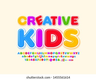 Vector bright logo Creative Kids with glossy Font. Colorful Alphabet set