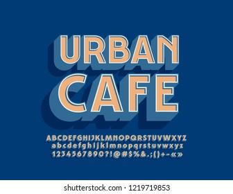 Vector Bright Logo Urban Cafe. Stylish 3D Alphabet Letters, Numbers and Symbols.