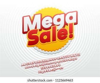 Vector Bright Mega Sale Logo. Sticker Font. Trendy Alphabet Letters, Numbers and Symbols